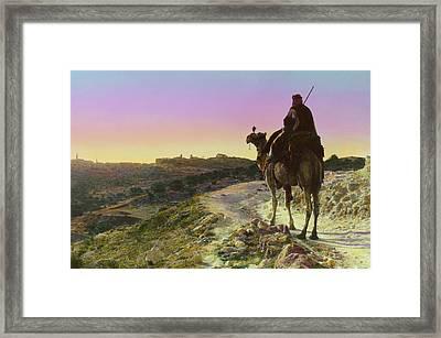 Man On A Camel And Horizon, Bethlehem Framed Print by Everett