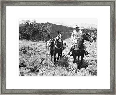 Man On Horseback Framed Print by George Marks