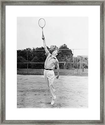 Man Playing Tennis Framed Print by George Marks