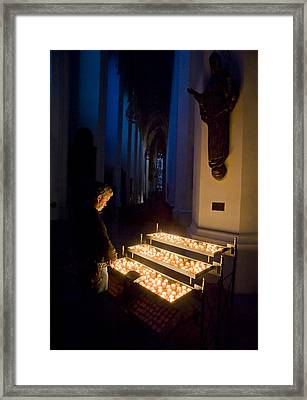 Man Prays By Candles At Frauenkirche Framed Print by Greg Dale