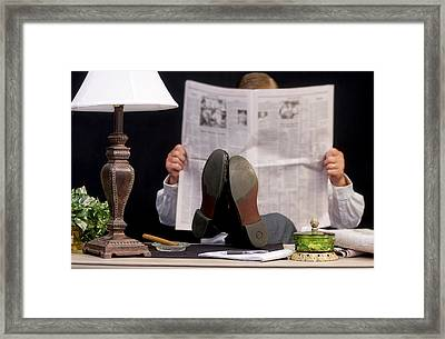 Man Read Newspaper Framed Print by Trudy Wilkerson