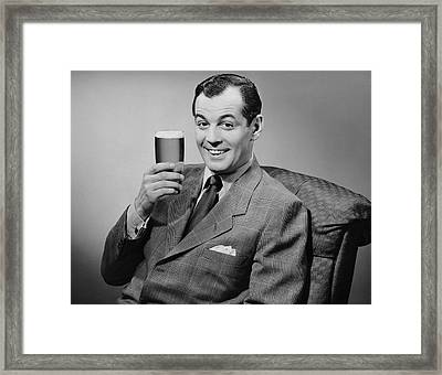 Man Sitting & Having A Beer Framed Print by George Marks