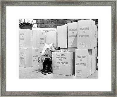 Man Sleeping On Box Outdoors (b&w) Framed Print by Hulton Archive