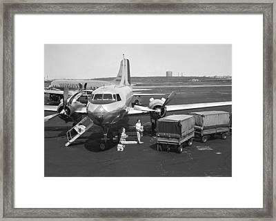 Man Standing At Airplane On Runway, (b&w) Framed Print by George Marks