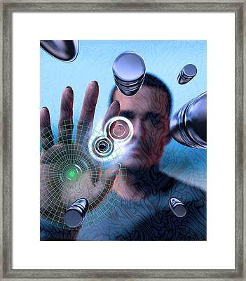 Man Stopping Bullets, Conceptual Artwork Framed Print by Christian Darkin