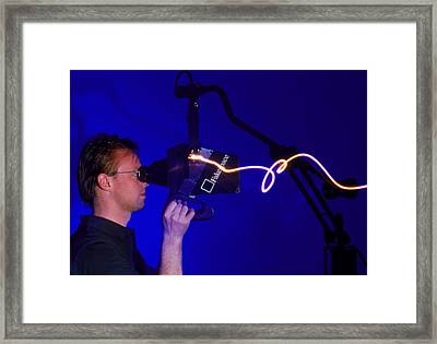Man Using The Fake Space Virtual Reality System Framed Print by Volker Steger