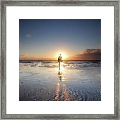 Man Walking On Beach At Sunset Framed Print by Stu Meech