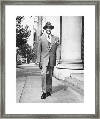 Man Walking On Sidewalk, (b&w) Framed Print by George Marks