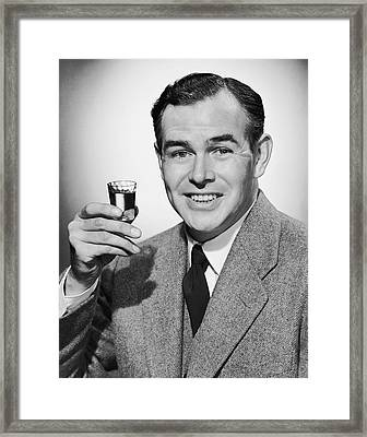 Man With Alcoholic Beverage Framed Print by George Marks