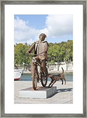 Man With Bicycle Framed Print by Fabrizio Ruggeri