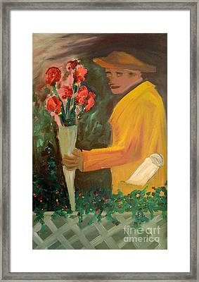 Man With Flowers  Framed Print