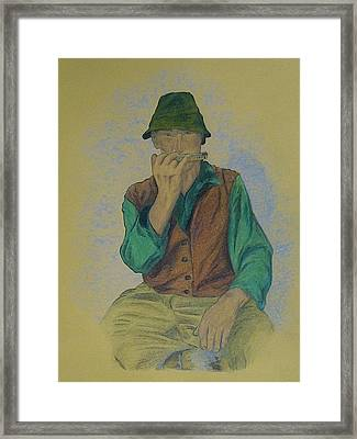 Man With Harmonica Framed Print by Kat At illustraat