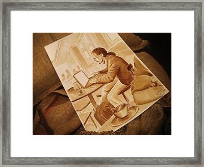 Man Working - Coffee Art Framed Print by Dirceu Veiga