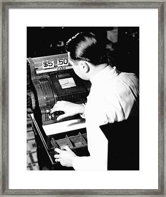 Man Working At Register Framed Print by George Marks