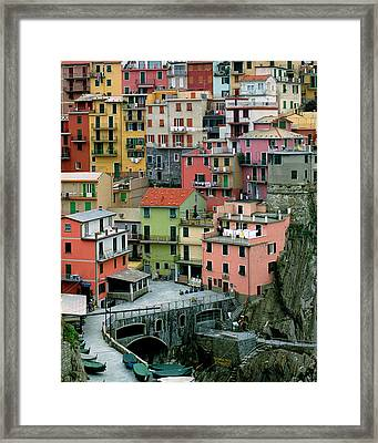 Manarola Houses On The Cinque Terre Framed Print by Greg Matchick