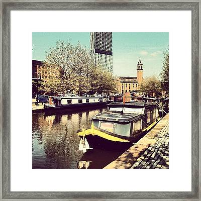 #manchester #manchestercanal #canal Framed Print by Abdelrahman Alawwad