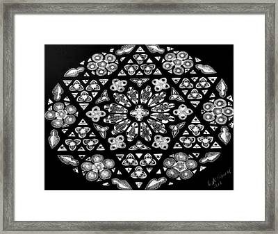 Framed Print featuring the drawing Mandala Of Hope Phase 1 by Lisa Brandel