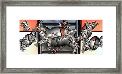 Mandelbrot Meets Mondrian Framed Print by Ron Bissett