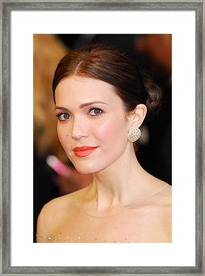 Mandy Moore Wearing Chopard Earrings Framed Print