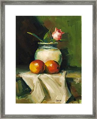 Mangoes And Rose Framed Print by Pepe Romero