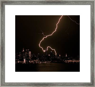 Manhattan Always Electrifying Framed Print by David Hahn