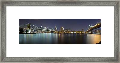 Manhattan At Night Panorama 2 Framed Print by Val Black Russian Tourchin
