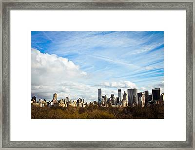 Manhattan Behing The Central Park Framed Print by Ezequiel Rodriguez Baudo