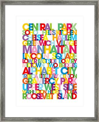 Manhattan Boroughs Bus Blind Framed Print by Michael Tompsett