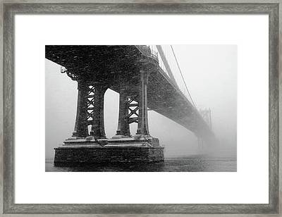 Manhattan Bridge Durning Winter Snow Storm Framed Print by Anthony Pitch