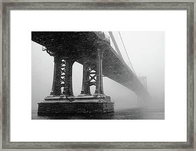 Manhattan Bridge Durning Winter Snow Storm Framed Print by Anthony Pitch
