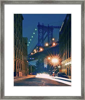 Manhattan Bridge Framed Print by Thomas Kurmeier
