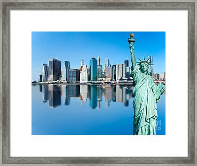 Framed Print featuring the photograph Manhattan Liberty by Luciano Mortula