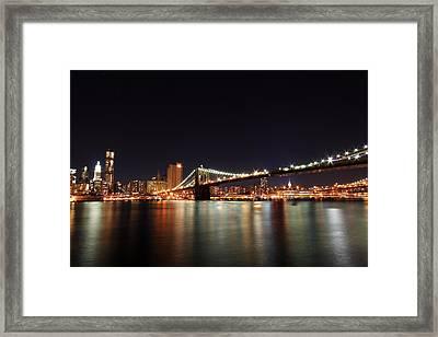 Manhattan Nightscape With Brooklyn Bridge Framed Print by Kean Poh Chua