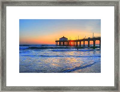 Manhattan Pier Sunset Framed Print