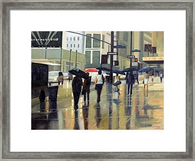 Manhattan Rain Framed Print