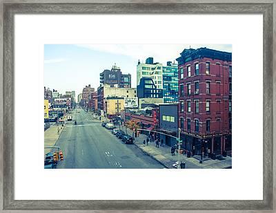Manhattan Street Scene Framed Print by Nancy Kennedy