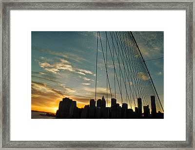 Manhattan Through The Bridge Framed Print by Alex AG
