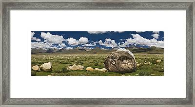 Mani Rocks Carved With The Tibetan Framed Print by Phil Borges