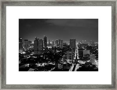 Manila Skyline Framed Print by Arj Munoz