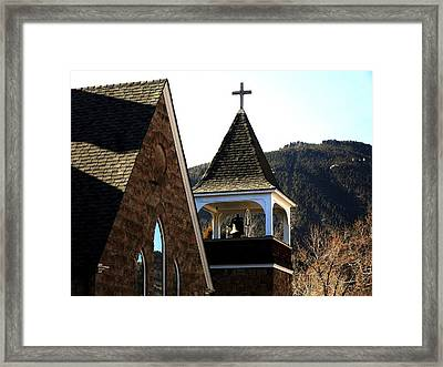 Framed Print featuring the photograph Manitou Springs Steeple by Clarice  Lakota