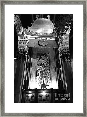 Manns Chinese Exterior Great Movie Ride Hollywood Studios Walt Disney World Prints Black And White Framed Print by Shawn O'Brien