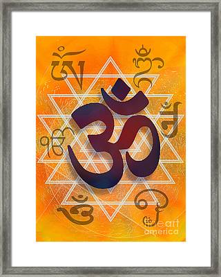 Framed Print featuring the digital art Many Faces Of Om by Ginny Schmidt