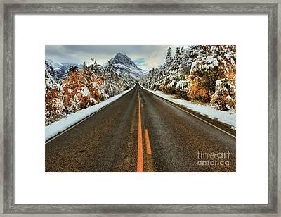 Many Glacier Road Framed Print