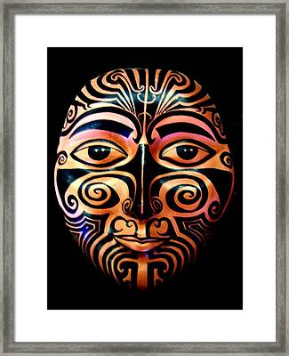 Framed Print featuring the sculpture Maori Mask by Michelle Dallocchio