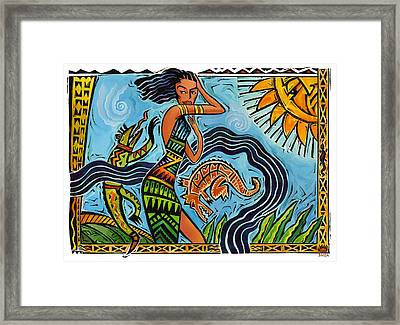 Maori Woman Dance Framed Print by Shawn Shea