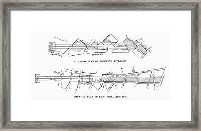 Map: Brooklyn Bridge Framed Print by Granger