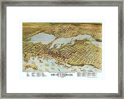 Map City Of Vancouver Framed Print