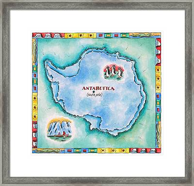 Map Of Antarctica Framed Print by Jennifer Thermes