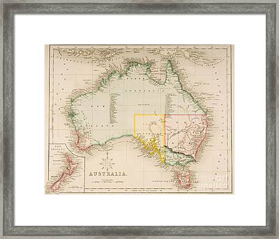Map Of Australia And New Zealand Framed Print by J Archer