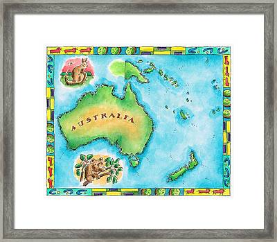 Map Of Australia Framed Print by Jennifer Thermes